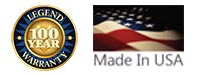 100 year warranty logo & Made in USA flag
